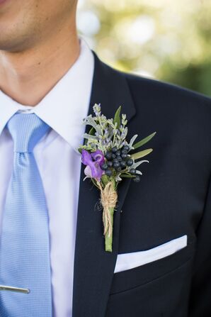 Lavender and Black Currant Boutonniere