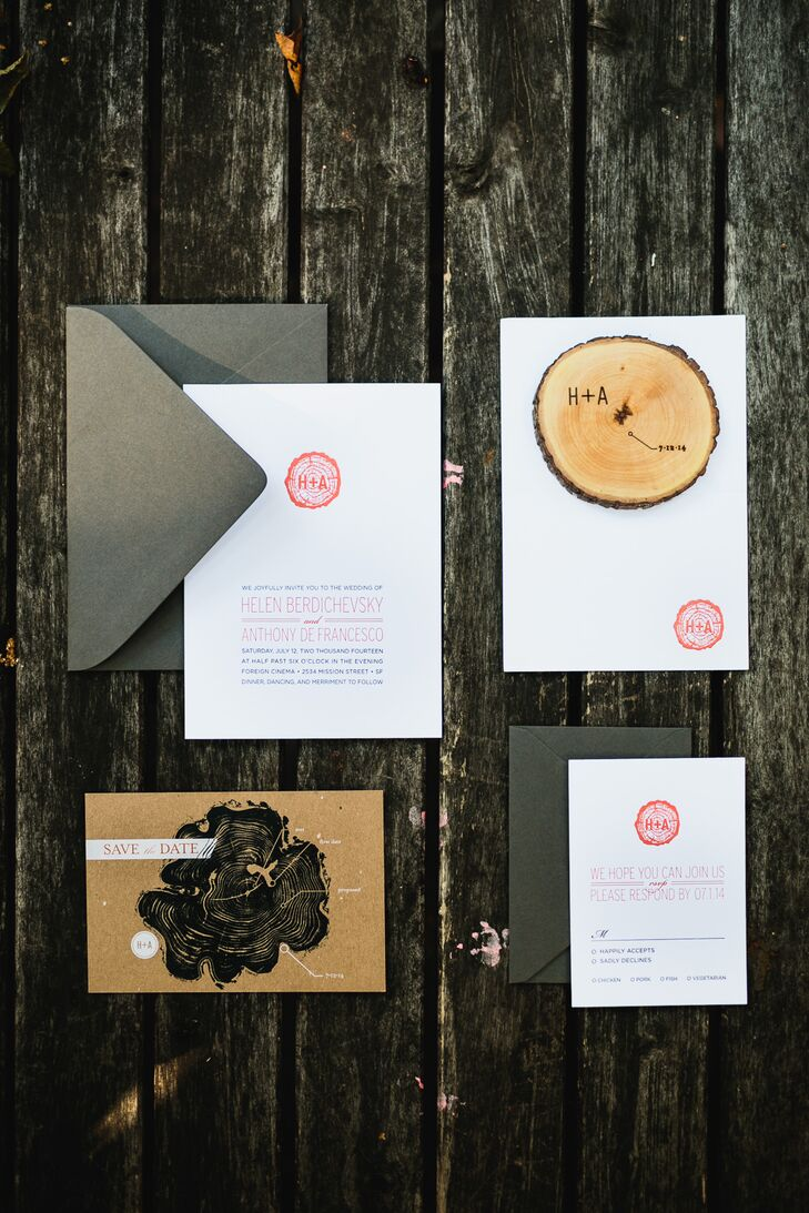 Wedding invitations were printed on white and brown stationary designed with wooden slab images.
