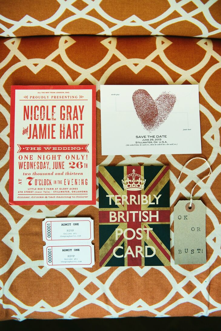 Everything at the wedding made the guests feel relaxed, starting with the wedding invitations that embraced a movie ticket theme instead of a traditional format. The invitation package also included a card that made fun of British humor, an obvious ode to Jamie's British upbringing.