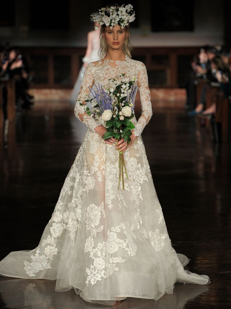 Reem Acra Spring 2019 lace wedding dress with long sleeves and sheer detailing