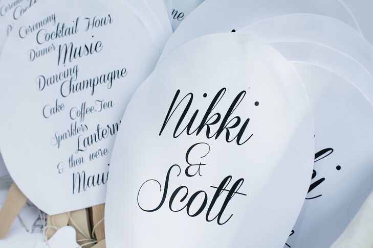 Nikki did her own stationery for the wedding. She used a black script typeface on white paper and popsicle sticks to make her programs into fans.