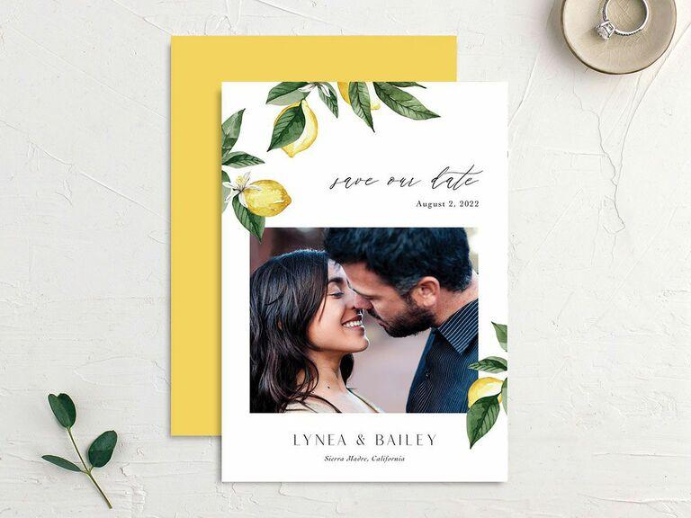 yellow lemon destination wedding save the date