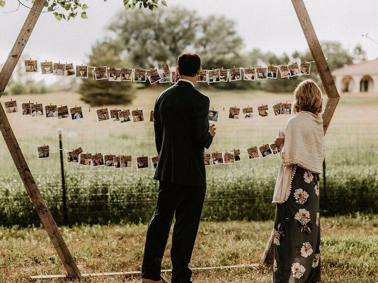 Oversize photo display backyard wedding ideas
