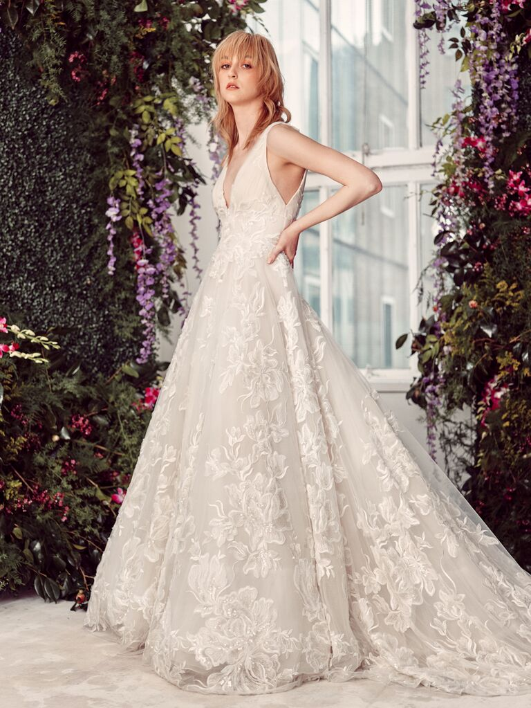 Rivini by Rita Vinieris Spring 2020 Bridal Collection floral-embroidered A-line wedding dress