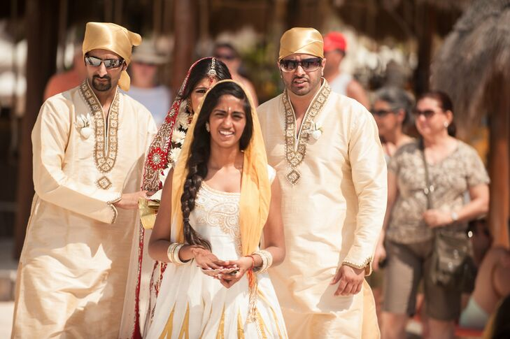Traditonal Sikh Wedding Party in White Indian Suits