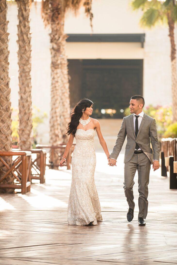 Modern Glamour Sikh Bride and Groom Reception Attire