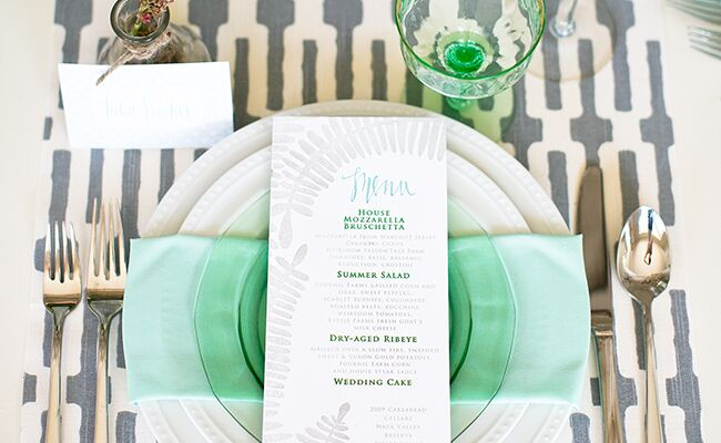 patterned tablecloths | Carrie Patterson Photography | blog.theknot.com
