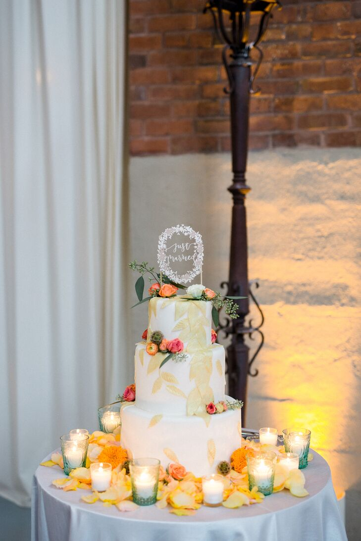 Gold Leaf and Coral Ranunculus Wedding Cake