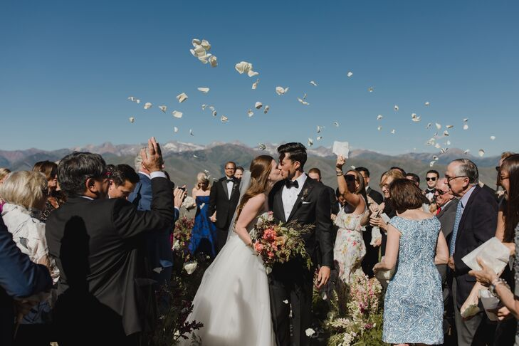 Classic Petal Toss Recessional in the Mountains