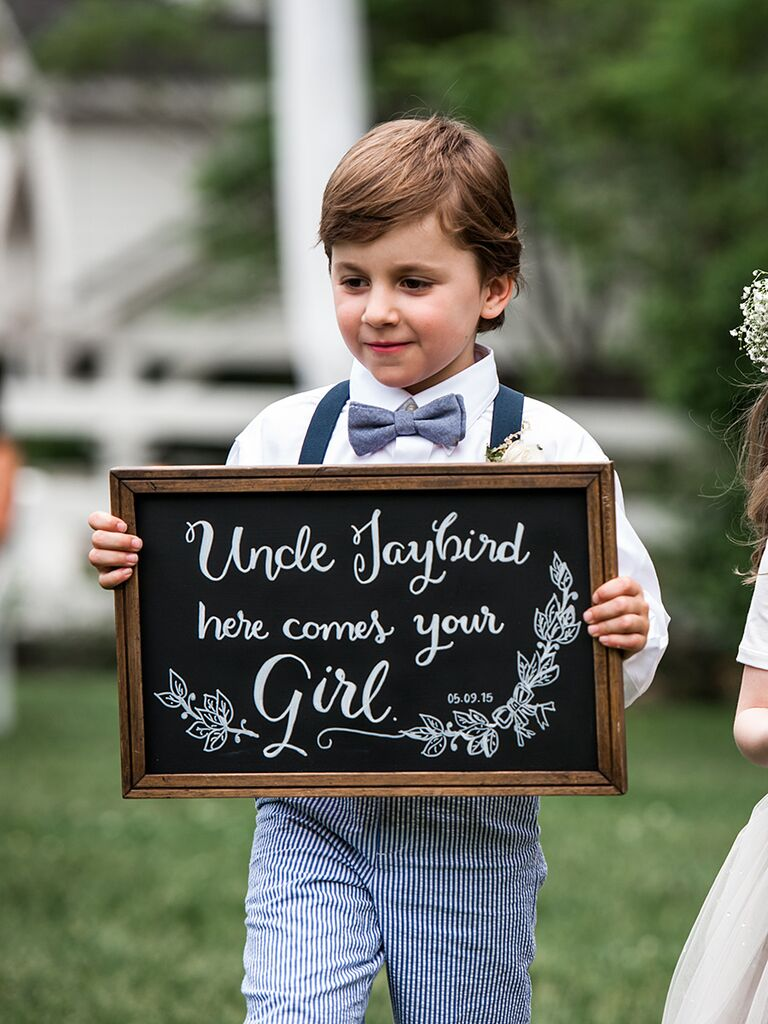 Cute ring bearer chalkboard wedding sign