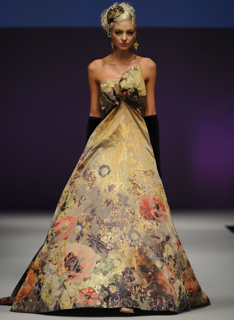 Yumi Katsura Fall 2016 gold floral strapless ball gown with oversized bow