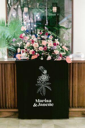 Custom Black Sign at Wedding in Tulum, Mexico