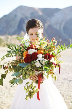Cascading Bouquet with Red and White Roses and Greenery