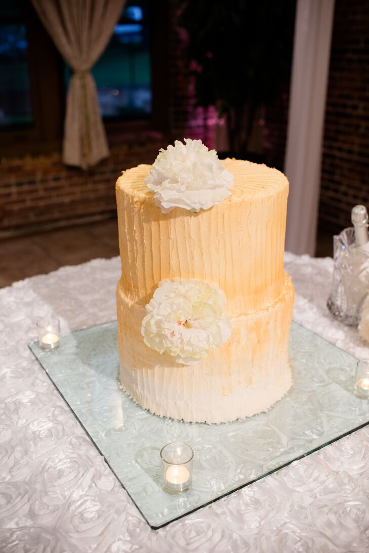 Two-Tier Champagne-Colored Wedding Cake