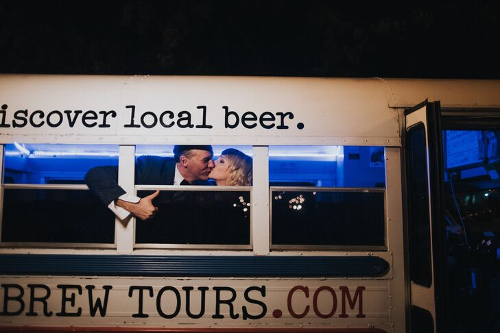 """Working in the beverage industry, Johnny incorporated craft beer from the celebratory drinks to the couple's getaway ride: the Knox Brew Tours bus. """"A bunch of friends piled in, and we drove to our favorite bar, Suttree's, to continue the party,"""" Lauren says."""