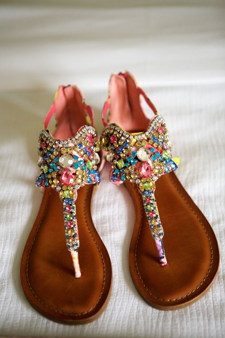 Wanting to fit in with the colorful, bold wedding vibe, Chelcie completed her look with totally chic rhinestone sandals. The casual shoes were perfect for both the outdoor garden ceremony and dancing at the reception.