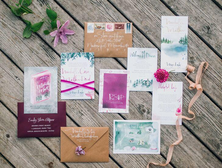 Custom-Designed Watercolor Wedding Invitations
