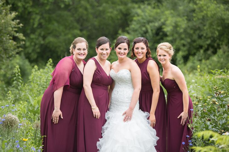 a2c0b755c6 The bridesmaids wore wine red Bill Levkoff floor-length dresses in  different styles