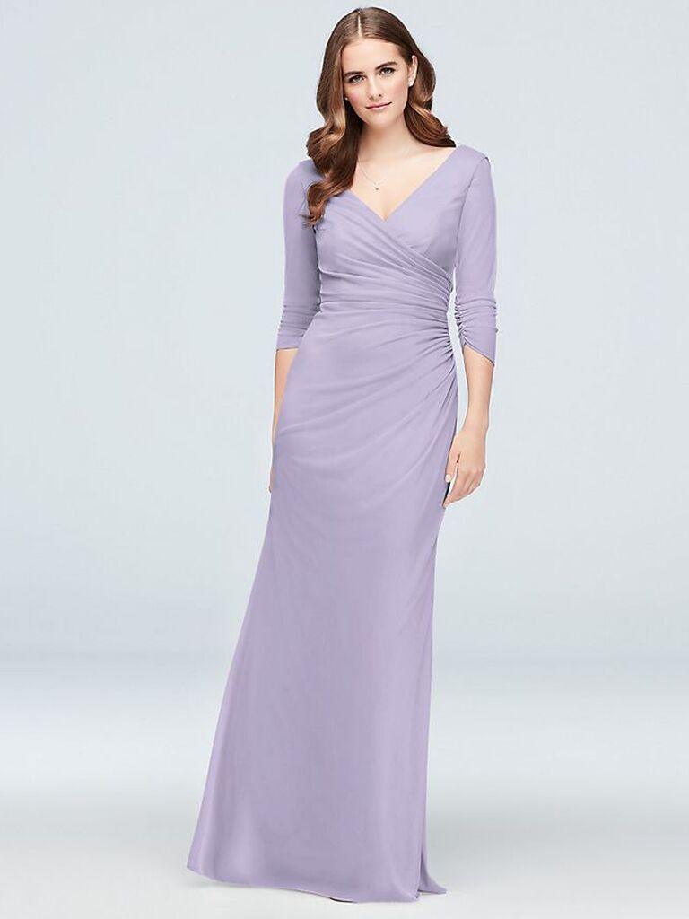 Lilac bridesmaid dress with long sleeves