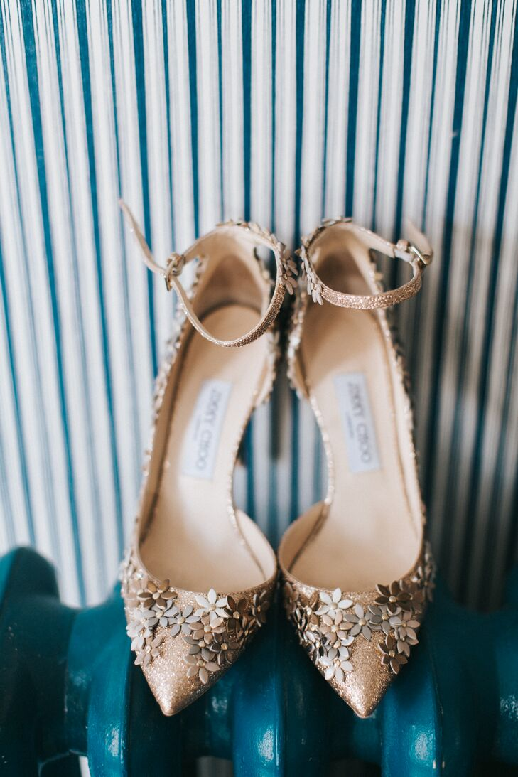 Gold Jimmy Choo Heels with Floral Accents