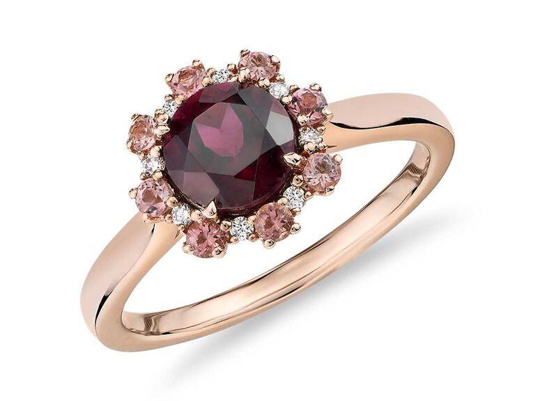 Pink tourmaline and diamond garnet engagement ring