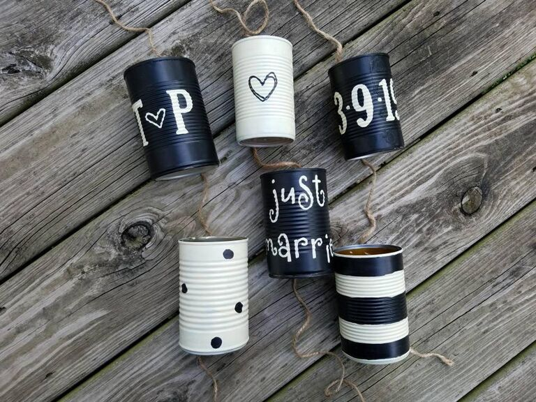 Just married tin cans for wedding car
