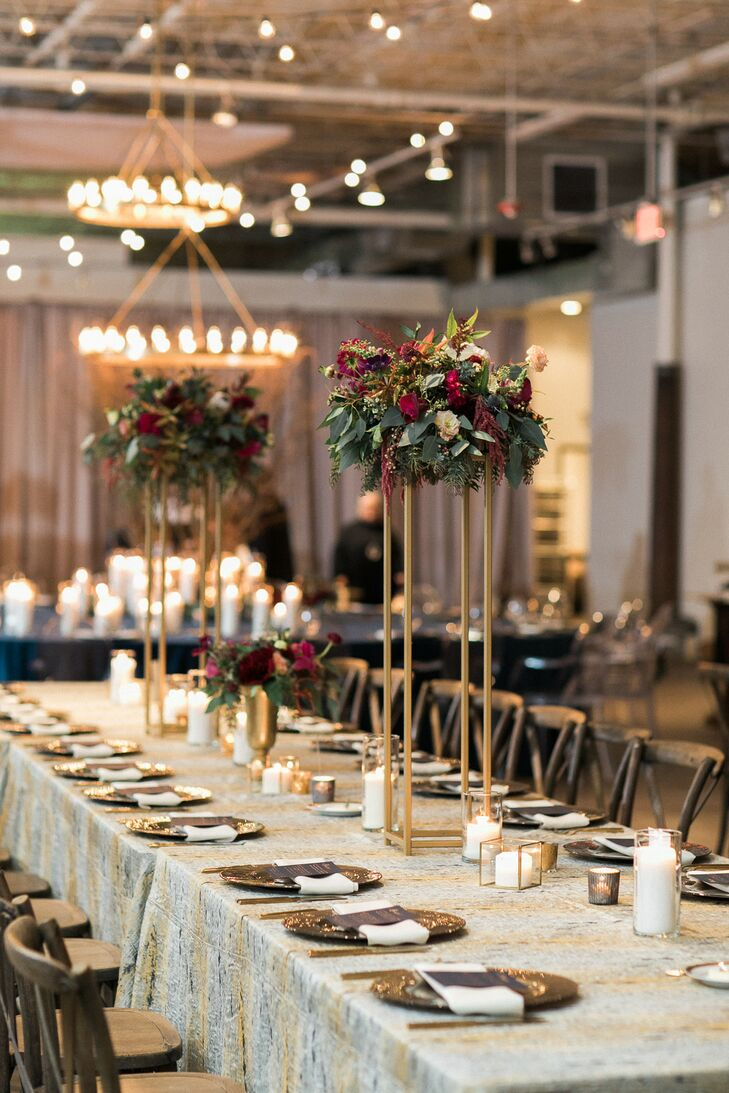 Tall Centerpieces Autumn Wedding at The Stave Room in Atlanta, Georgia