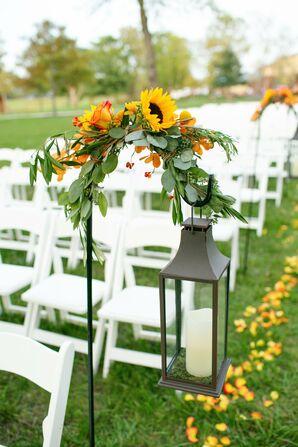 Lantern and Sunflower Decor