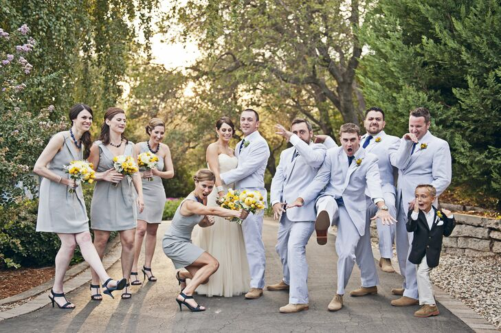 Gray and Yellow Wedding Party Attire