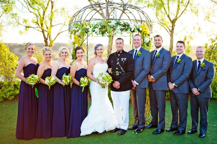 """We'd decided that Jamison would wear his Dress Blues for the ceremony, so I based all fashions on the uniform,"" says Ashley."