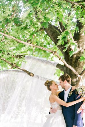 Boho Bride and Groom at a Backyard Wedding