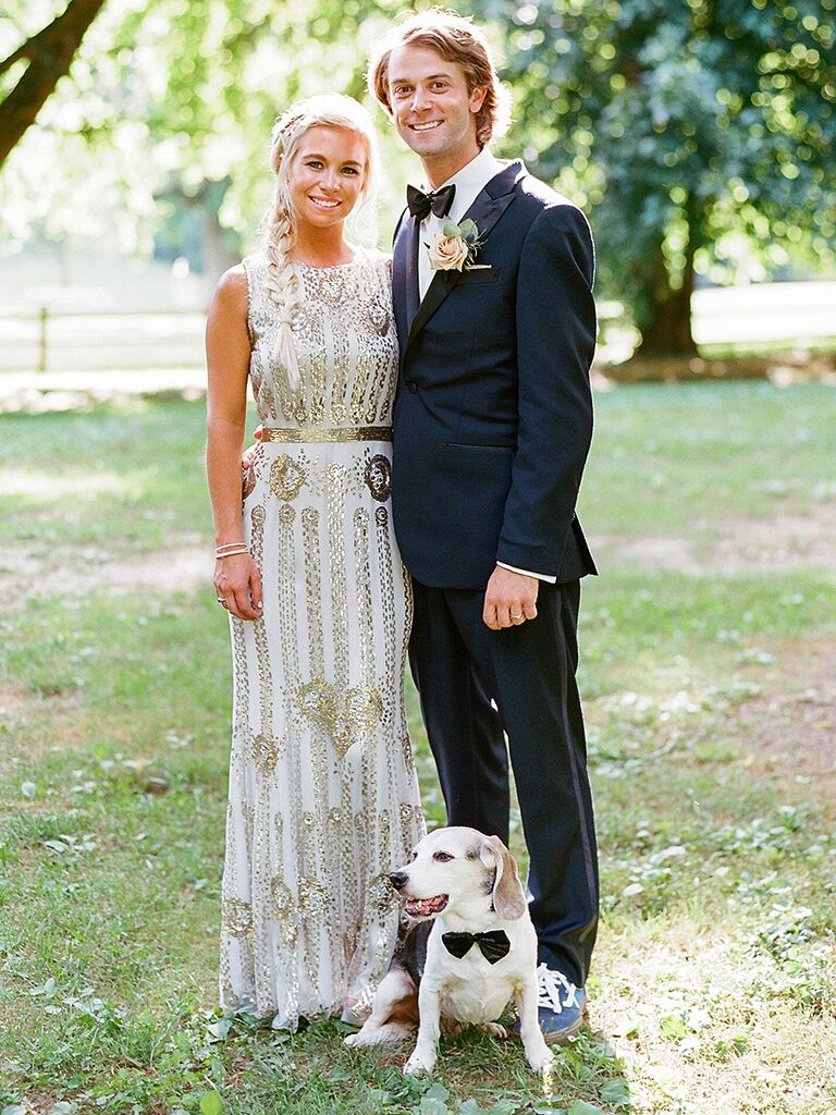 Jenny Packham wedding gown with art deco embellishments