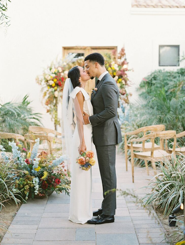 Bride and Groom Share Kiss During Wedding in Coachella, California