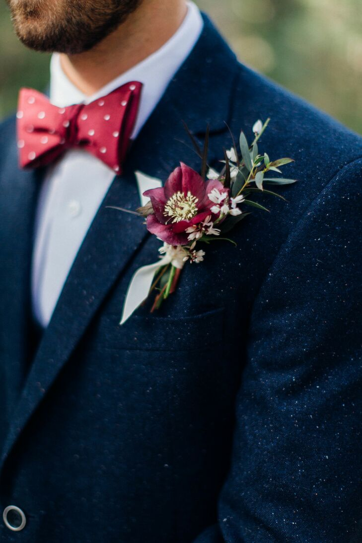 Groom Wearing Blue Tweed Suit Jacket, Polka-Dot Bow Tie and Burgundy Boutonniere