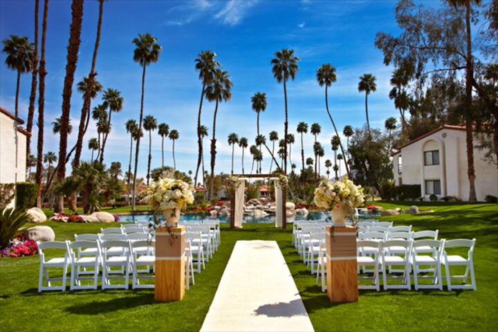 Wedding reception venues in palm springs ca the knot omni rancho las palmas resort spa junglespirit Image collections