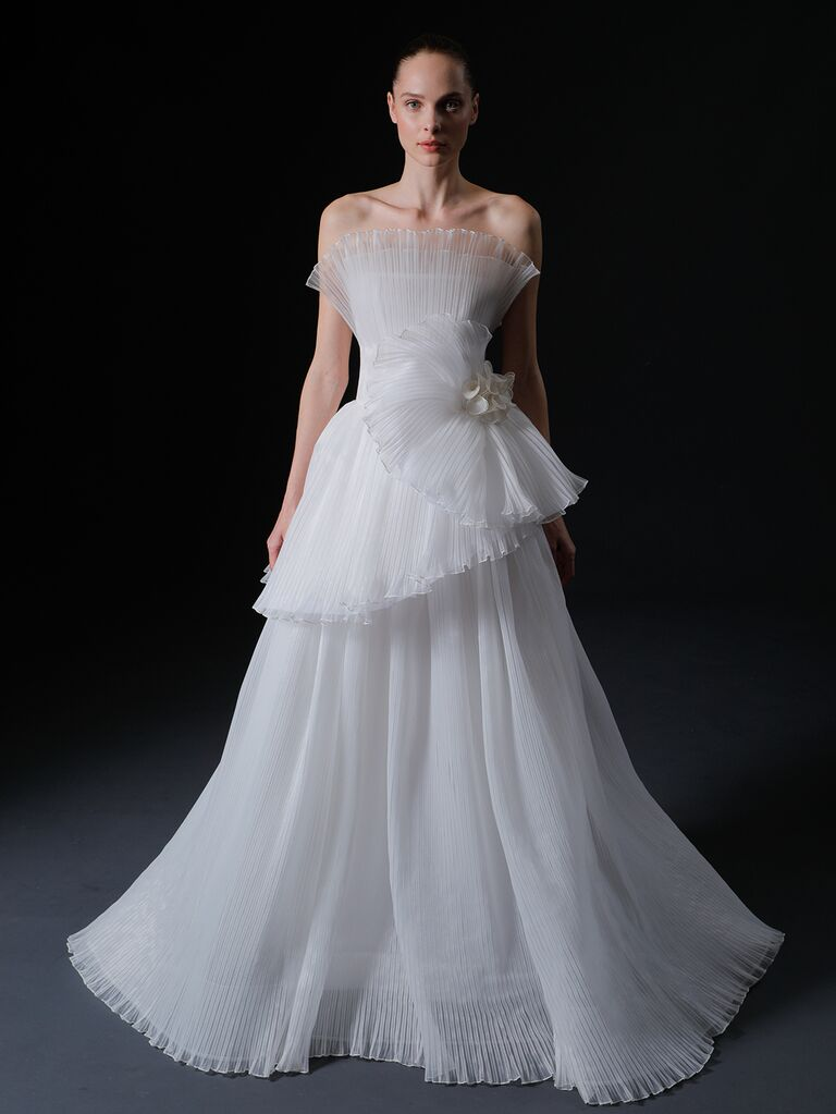 Isabelle Armstrong Spring 2020 Bridal Collection pleated tiered strapless wedding dress