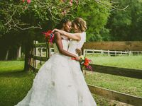 Two brides posing