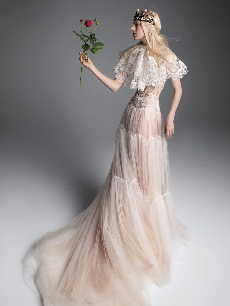 Vera Wang Fall 2019 Bridal Collection tiered tulle wedding dress with nude underlay and lace capelet
