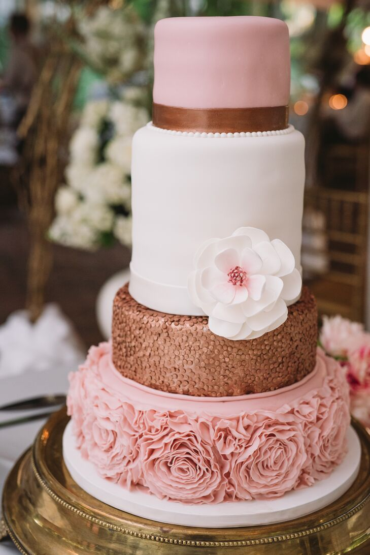 Round, Tiered Cake with Pink Fondant Peonies and Gold Accents