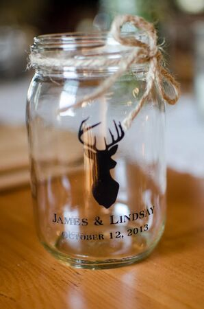 Custom Mason Jar Favors with Deer Motif