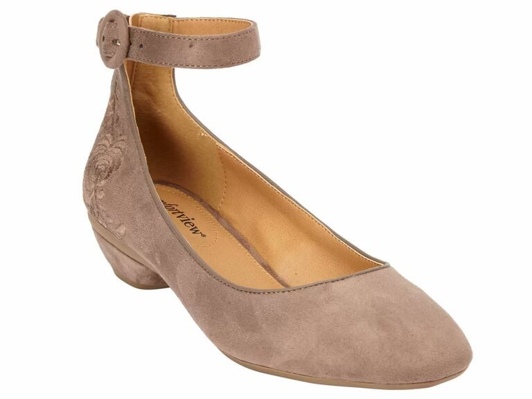 taupe suede ankle strap flats