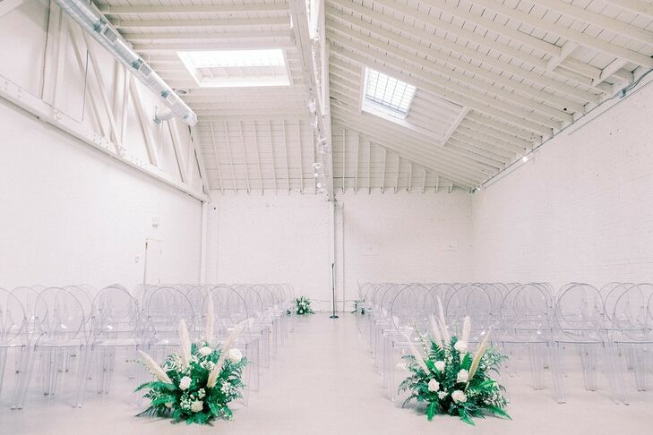 Minimalistic Loft Ceremony with Ghost Chairs at HNYPT in Los Angeles, California