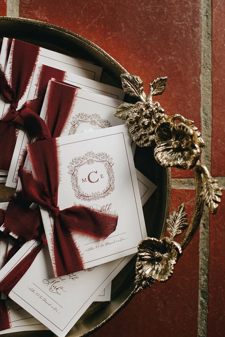 Monogrammed Programs for Wedding at The Beverly Mansion in Marengo, Ohio