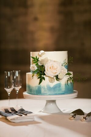Modern Hand-Painted Tiered Wedding Cake with Flowers