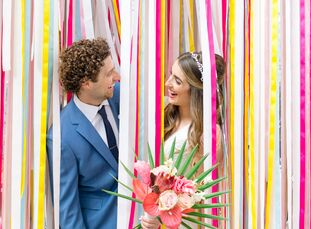 As a commercial photographer and creative director, Alisha	Johns brought color and creativity to her wedding with Graham Cohen, which took place in th