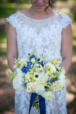 White Anemone, Peony, Ranunculus and Thistle Bridal Bouquet With Navy Ribbon