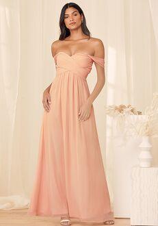 Lulus Romantic Splendor True Blush Off-The-Shoulder Maxi Dress Off the Shoulder Bridesmaid Dress