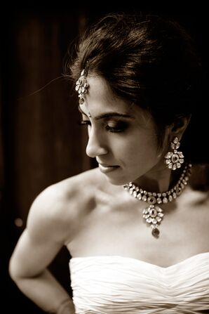 Bride in Ornate Indian Jewelry With her Ball Gown