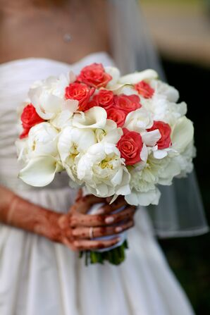 Bride With Henna and a White and Coral Bouquet