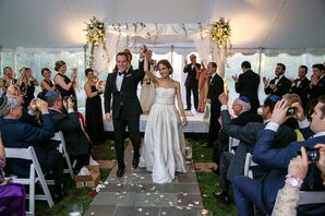 Recessional at Jewish Ceremony With a White Chuppah